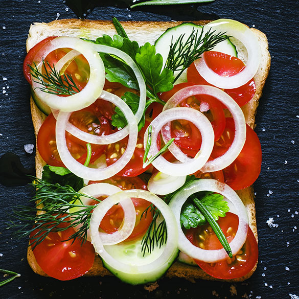 Vegan Cucumber, Tomato and Onion Sandwich with Herbs